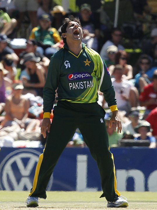Pakistan's Saeed Ajmal reacts during their One day International cricket match against South Africa in Bloemfontein