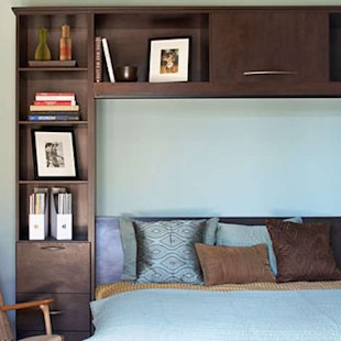Frame your bed with custom cubbies