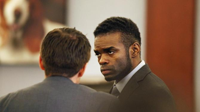 "Jason Omar Griffith appears in court during his trial at the Regional Justice Center Thursday, May 8, 2014, in Las Vegas. Griffith is accused of murdering Luxor ""Fantasy"" dancer Deborah Flores Narvaez in December 2010. (AP Photo/Las Vegas Review-Journal, John Locher) LOCAL TV OUT; LOCAL INTERNET OUT; LAS VEGAS SUN OUT"