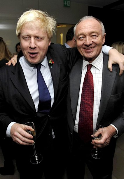 Ken Livingstone (right) described his battle with Boris Johnson (left) to be mayor of London as like the struggle between Churchill and Hitler