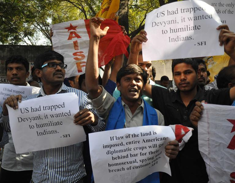 Members of The All India Students Federation (AISF) protest in front of the US consulate in Hyderabad on December 19, 2013, following the arrest of New York-based Indian diplomat Devyani Khobragade