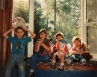 The Sleadd children in the newly installed bay window, August 1996.
