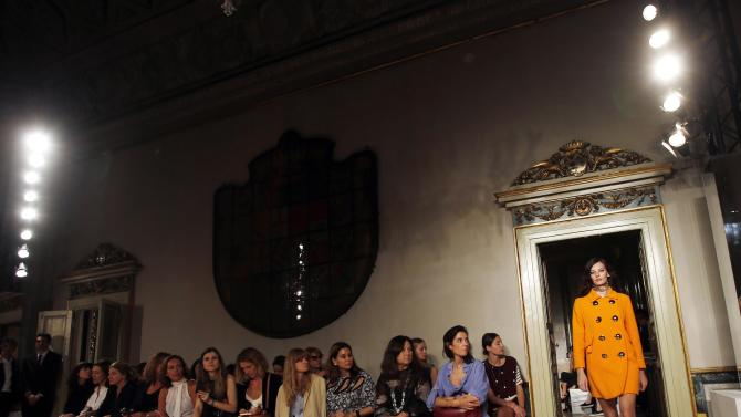 A model presents a creation from the Emilio Pucci Spring/Summer 2015 collection during Milan Fashion Week