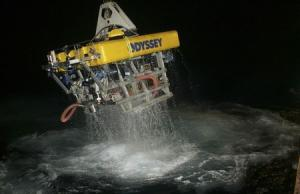 Handout of Odyssey's remotely operated vehicle (ROV) Zeus returning to the surface following work on a deep-ocean shipwreck site