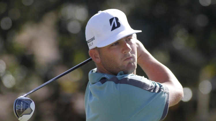 Matt Every hits his tee shot on the first hole during the final round of the Children's Miracle Network Hospitals golf tournament in Lake Buena Vista, Fla., Sunday, Nov. 11, 2012. (AP Photo/Reinhold Matay)