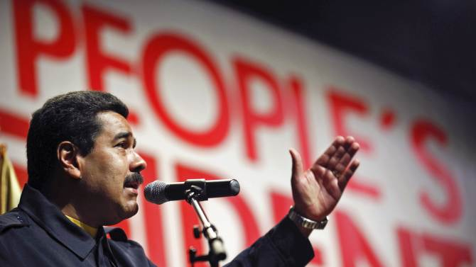 Venezuela's President Nicolas Maduro speaks during a meeting in New York