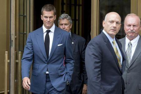 New England Patriots quarterback Brady exits the Manhattan Federal Courthouse in New York