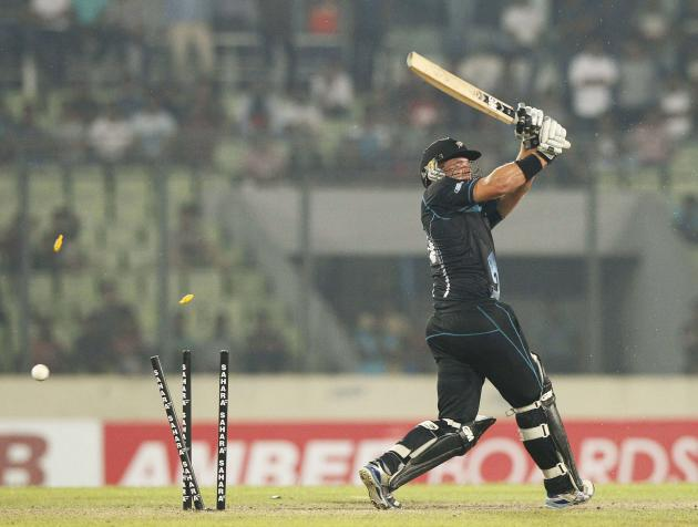 New Zealand's Corey Anderson is bowled out by Bangladesh's Rubel Hossain during their first one-day international (ODI) cricket match in Dhaka