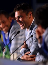 MEDINAH, IL - SEPTEMBER 30:  Martin Kaymer speaks with the media after Europe defeated the USA 14.5 to 13.5 to retain the Ryder Cup during the Singles Matches for The 39th Ryder Cup at Medinah Country Club on September 30, 2012 in Medinah, Illinois.  (Photo by Mike Ehrmann/Getty Images)