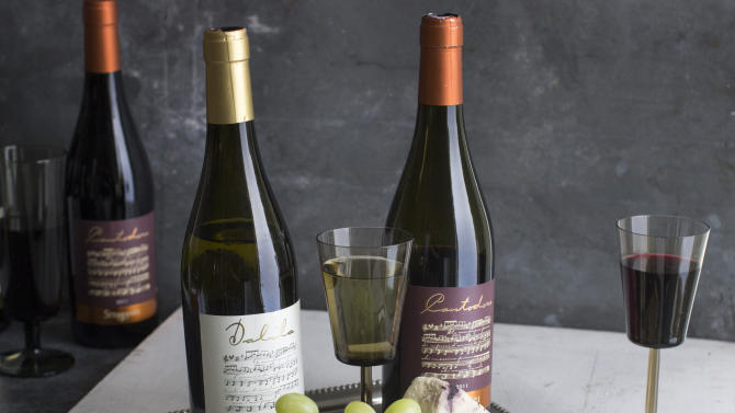 This July 28, 2014 photo shows Dalila and Cantodoro wine in Concord, N.H. New wave wines, varieties from the reinvented, or re-inventing, regions of Eastern Europe, Sicily and Greece go far beyond the world of chardonnay and cabernet sauvignon. (AP Photo/Matthew Mead)