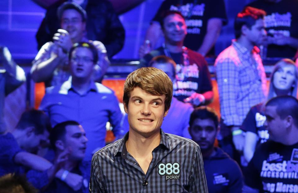 Jake Balsiger watches the flop after an all in-bet during the World Series of Poker Final Table event, Tuesday, Oct. 30, 2012, in Las Vegas. Balsiger won the hand and spiked his double.