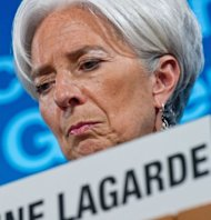 International Monetary Fund Managing Director Christine Lagarde listens to a question during the IMF/World Bank Annual Spring Meetings in Washington, DC. The IMF raised $430 billion in new funds for crisis intervention