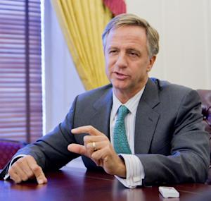 Gov. Bill Haslam speaks about his first year in office in an interview with The Associated Press on Thursday, Dec. 8, 2011, at the state Capitol in Nashville, Tenn. The Republican governor said tough economic times make it unlikely the state will be able to afford a reduction in the state's Hall income tax on interest and dividends or of the estate tax in the coming year. (AP Photo/Erik Schelzig)
