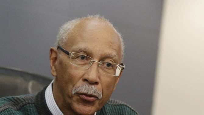 Detroit Mayor Dave Bing answers a question during a news conference in Detroit, Thursday, Jan. 3, 2013. Detroit officials say the city had 386 criminal homicides in 2012, up about 12 percent from the previous year. Robberies and car thefts also were up. However, overall crime was down by more than 2.5 percent. (AP Photo/Carlos Osorio)