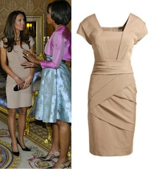 Kate Middleton's tan Reiss dress she wore to meet Michelle Obama sold out immediately. Photos by Getty Images and Reiss.