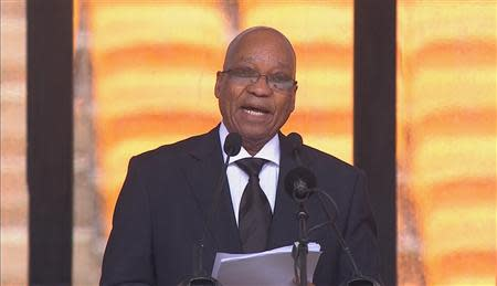 South African Jacob Zuma speaks during Nelson Mandela's national memorial service in Johannesburg