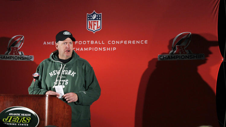 New York Jets head coach Rex Ryan listens to a question during a news conference after NFL football practice, Wednesday, Jan. 19, 2011, in Florham Park, N.J. The Jets are scheduled to face the Pittsburgh Steelers in the AFC Championship game on Sunday, Jan. 23, in Pittsburgh. (AP Photo/Mel Evans)