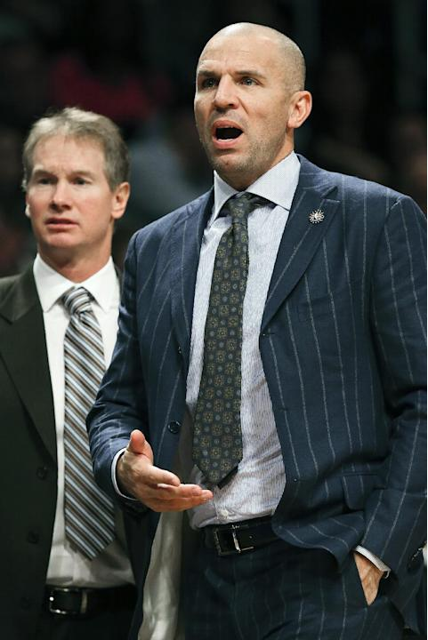 Brooklyn Nets head coach Jason Kidd reacts to a call during the third quarter of a NBA basketball game against the Indiana Pacers, Saturday, Nov. 9, 2013, at the Barclays Center in New York. The India