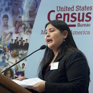 National Congress of American Indians Policy Research Director Malia Villegas presents statistics of Native American and Alaska native population, Wednesday, Jan. 25, 2012, at the National Museum of the American Indian in Washington. (AP Photo/Manuel Balce Ceneta)