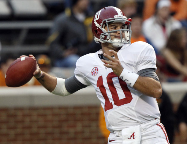 Alabama quarterback AJ McCarron (10) throws to a receiver before an NCAA college football game against Tennessee, Saturday, Oct. 20, 2012, in Knoxville, Tenn. (AP Photo/Wade Payne)