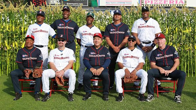 IMAGES DISTRIBUTED FOR PEPSI MAX - MLB legends pose for a group photo before the 2013 Pepsi MAX Field of Dreams Game on Saturday, May 18, 2013 in Rochester, NY. Top row, L-R: Pedro Martinez, Fred McGriff, Rickey Henderson, Trevor Hoffman and Frank Thomas. Bottom row L-R: Ozzie Smith, Wade Boggs, Johnny Bench, Reggie Jackson and Mike Schmidt. (Photo by Bill Wippert/Invision for Pepsi MAX/AP Images)