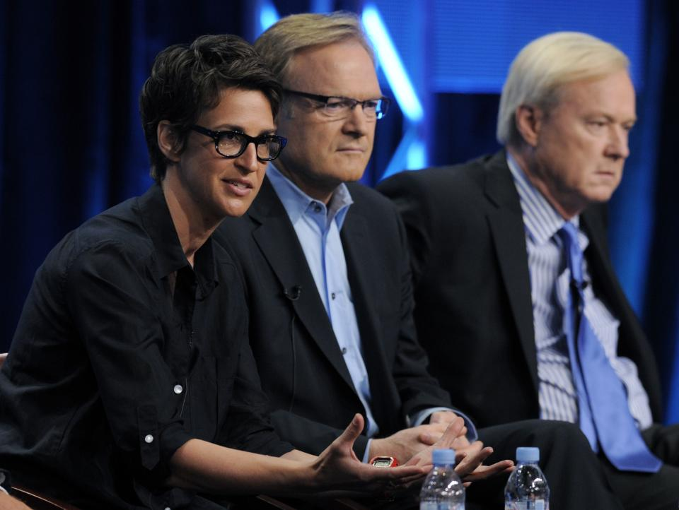 MSNBC hosts Rachel Maddow, left, Lawrence O'Donnell, center, and Chris Matthews take part in a panel discussion at the NBC Universal summer press tour, Tuesday, Aug. 2, 2011, in Beverly Hills, Calif. (AP Photo/Chris Pizzello)