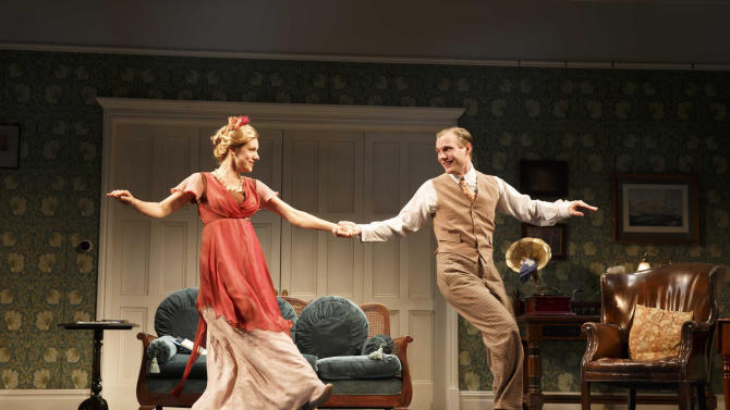 """This undated photo provided by Polk PR shows Charlotte Parry, left, and Zachary Booth in Terrance Rattigan's """"The Winslow Boy,"""" (Roundabout Theatre) directed by Lindsay Posner in New York. (AP Photo/Polk PR, Joan Marcus)"""