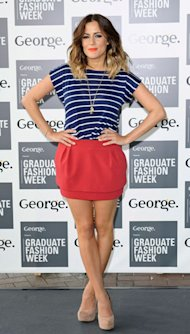 Caroline Flack ditches the high-waisted shorts for tiny skirt & nautical stripes at Graduate Fashion Week