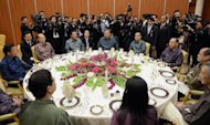 Leaders from the Association of Southeast Asian Nations attend a working dinner at the prime minister's complex in Bandar Seri Begawan on April 24, 2013. Southeast Asian leaders met in Brunei on Wednesday for talks aimed at easing tensions over the South China Sea and building momentum towards groundbreaking economic partnerships