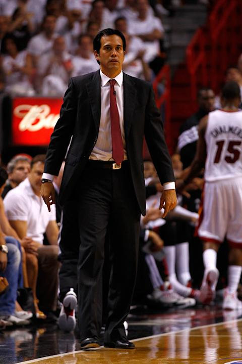 Erik Spoelstra Of The Miami Heat Looks Getty Images