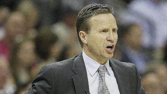 Oklahoma City Thunder head coach Scott Brooks reacts to play against the Memphis Grizzlies in first half of Game 3 in a Western Conference semifinal NBA basketball playoff series in Memphis, Tenn., Saturday, May 11, 2013. (AP Photo/Danny Johnston)