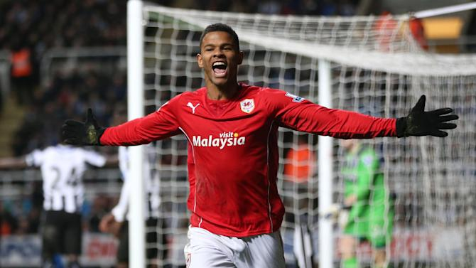 English striker Fraizer Campbell celebrates after he scores a goal during a football match in Newcastle upon Tyne on January 4, 2014