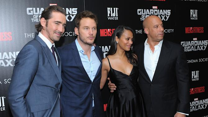 "(L-R) Actors Lee Pace, Chris Pratt, Zoe Saldana and Vin Diesel at a screening of ""Guardians of the Galaxy"" in New York on July 29, 2014"