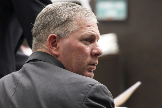 FILE - Former New York Mets outfielder Lenny Dykstra is seen during his sentencing for grand theft auto in the San Fernando Valley section of Los Angeles in this March 5, 2012 file photo. Dykstra pleaded guilty Friday July 13, 2012 and could face 20 years in prison for hiding and selling sports memorabilia and other items that were supposed to be part of his bankruptcy filing. (AP Photo/Nick Ut, File)