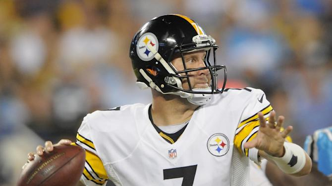 Pittsburgh Steelers' Ben Roethlisberger ;ooks to pass against the Carolina Panthers during the first half of an NFL football game in Charlotte, N.C., Sunday, Sept. 21, 2014