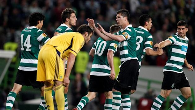 Sporting Lisbon's players celebrate