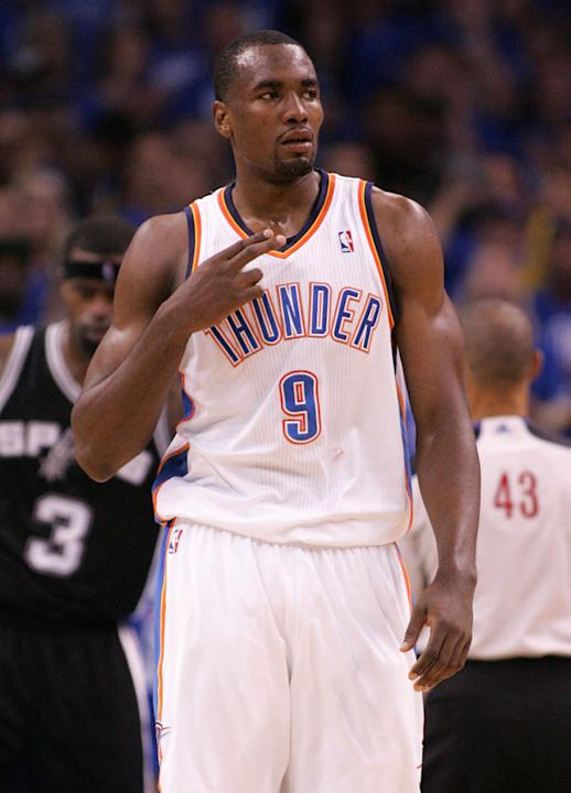 Serge Ibaka #9 Of The Oklahoma City Thunder Reacts Getty Images