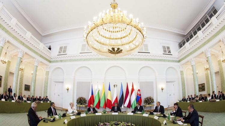 Handout photo shows Presidents of the Baltic States, the Visegrad Group, Bulgaria and Romania meeting in Warsaw