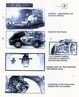 Storyboards for the Rail Axle sequence in Dreamworks' The Island