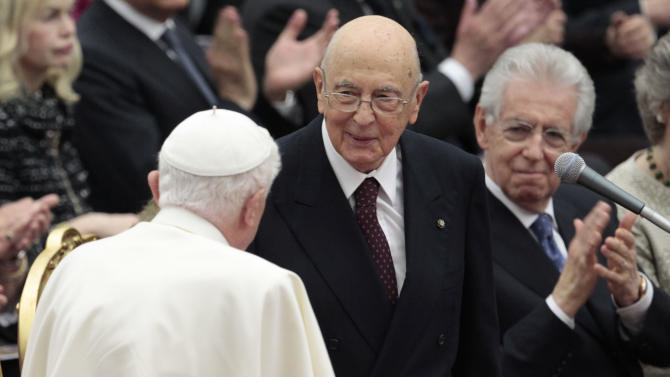 Pope Benedict XVI greets Italian President Giorgio Napolitano as they wait for the start a concert offered by Italian President to celebrate his Pontificate at the Vatican, Friday, May 11, 2012. (AP Photo/Gregorio Borgia)
