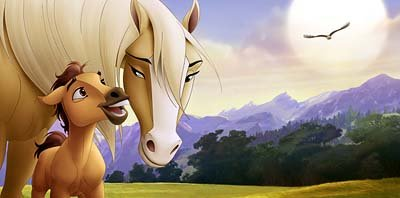 Spirit as a baby colt is protected by his mother in Dreamworks' Spirit: Stallion of the Cimarron