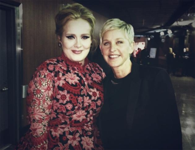"Backstage at the Grammys 2013: Ellen DeGeneres is a massive Adele fan, so she couldn't wait to have her photo taken with the star. Ellen tweeted this photo alongside the caption: ""Rolling in the deep"