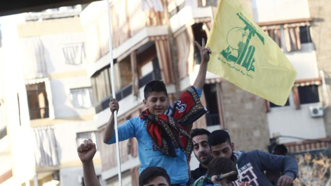 Hezbollah supporters celebrate in Beirut's southern suburbs