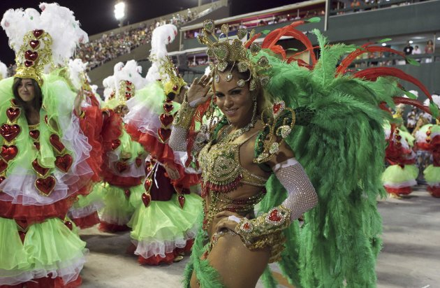 Revellers from the Grande Rio samba school take part in the second night of the annual Carnival parade in Rio de Janeiro's Sambadrome