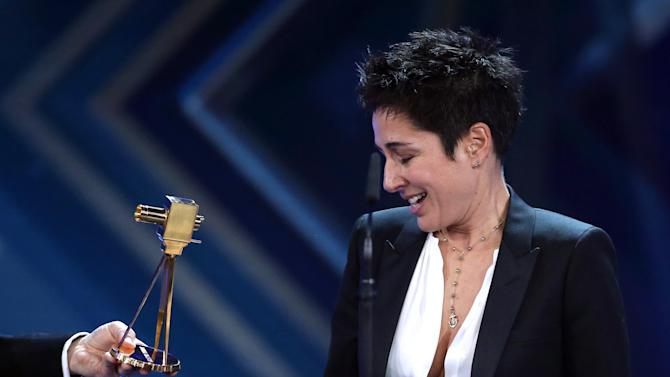 TV journalist Hayali accepts the award for Best Information during Golden Camera awards ceremony in Hamburg