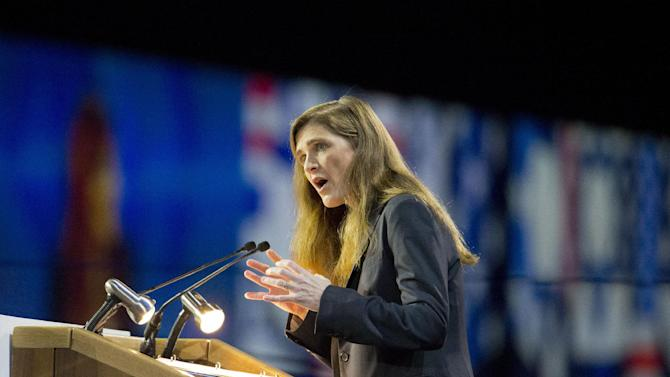 US United Nations Ambassador Samantha Power speaks at the American Israel Public Affairs Committee (AIPAC) Policy Conference in Washington, Monday, March 2, 2015. (AP Photo/Pablo Martinez Monsivais)