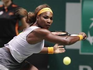 Williams of the U.S. hits a return to Li of China during their WTA tennis championships final match at Sinan Erdem Dome in Istanbul