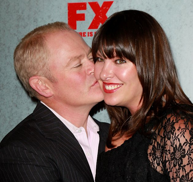 "Neal McDonough and wife Ruve McDonough attend the Season 3 premiere of FX's ""Justified"" at the Directors Guild on January 10, 2012 in Los Angeles, California."