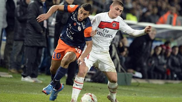 FOOTBALL 2012 Montpellier-PSG (Belhanda et Verratti)