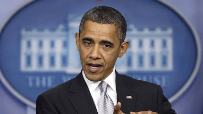 President Barack Obama speaks about the fiscal cliff as he takes questions from reporters, Wednesday, Dec. 19, 2012, at the White House in Washington. (AP Photo/Charles Dharapak)